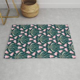 Art Nouveau Bellflower Emerald Green and Pink Rug