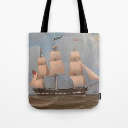 The English Merchant Ship Malabar - William Clark  Tote Bag