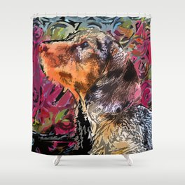 """Cucciolo di Graffito"" ~ Dachshund, Weiner Dog, Doxie, everywhere! Shower Curtain"