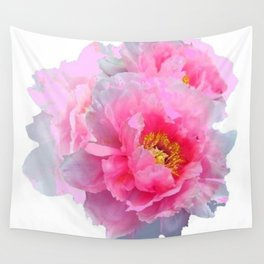 PINK & WHITE PEONY GARDEN FLOWER Wall Tapestry