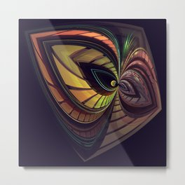Aliën mask, fractal abstract Metal Print