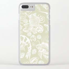 Ocean Critters with Grey Background Clear iPhone Case