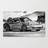 porsche Canvas Prints featuring Porsche  by Marcela Caraballo