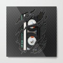 Black Retro Cassette tape Metal Print