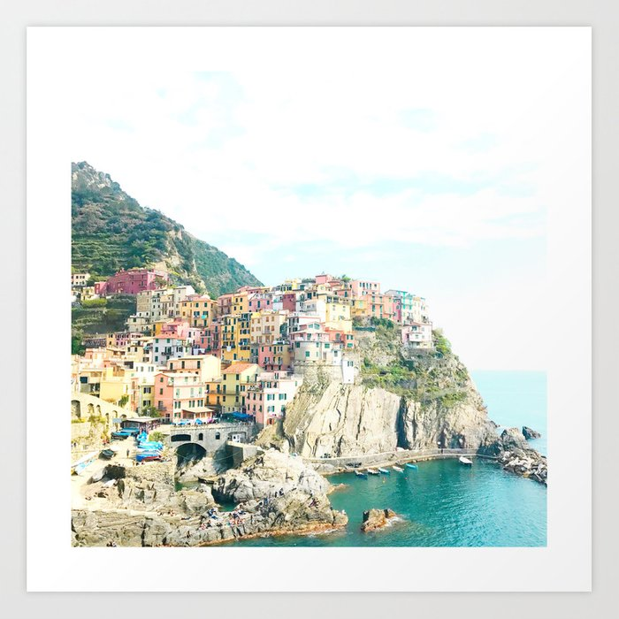 little houses on the hillside - Cinque Terre, Italy Kunstdrucke