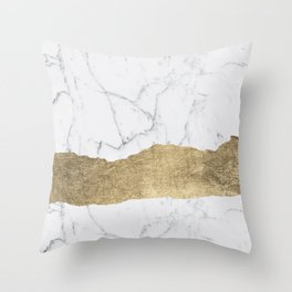Elegant faux gold foil gray white modern marble Throw Pillow