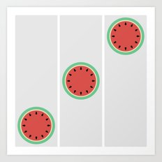 Watermelon Clock Triptych Art Print