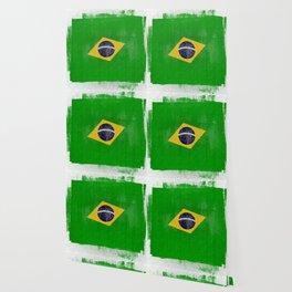 Brazilian Distressed Halftone Denim Flag Wallpaper