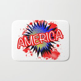 America Red White And Blue Cartoon Exclamation Bath Mat