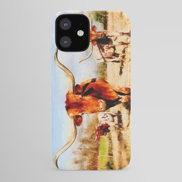 Texas longhorn watercolor painting iPhone Case