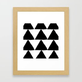 Mountains - Black and White Triangles Framed Art Print