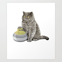 Curling Cat Ice Sports Cat And Curling Lover Gift Art Print