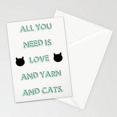 All You Need Is Love, Yarn, & Cats. Stationery Cards