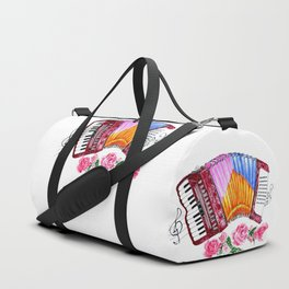Accordion with pink roses Duffle Bag
