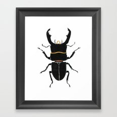 Noir Beetle Dark Watercolor  Framed Art Print