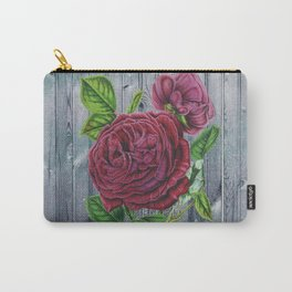 Crimson Rose Grey Winter Fence Collage Carry-All Pouch