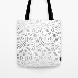 Elegant geometrical faux silver stripes pattern Tote Bag