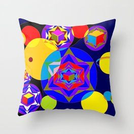 A Galaxy of Stars, Cubes and Planets Throw Pillow