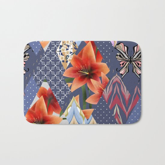 "A series of ""Favorite patchwork"". Lilies with blue fabrics. Bath Mat"