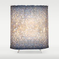 winter Shower Curtains featuring Glimmer of Light (Ombré Glitter Abstract) by soaring anchor designs