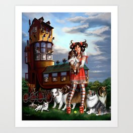 Gothic Lolita in the Shoe with Dogs Art Print