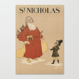 Vintage Saint Nicholas Illustration (1895) Canvas Print