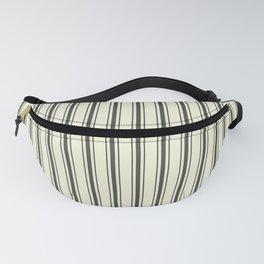 Mattress Ticking Wide Striped Pattern in Dark Black and Beige Fanny Pack