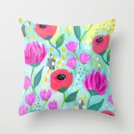 Pink and Coral Flowers, Floral Painting Pattern, Girl's Room Decor, Interior Design Throw Pillow