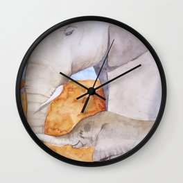 Mama and Baby Elephants Wall Clock
