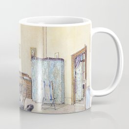 Franz Alt - Interior with bird cage and beach chair - Digital Remastered Edition Coffee Mug