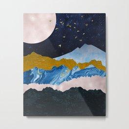 Golden View Mountain Peaks Metal Print