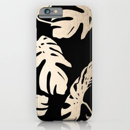 Simply Palm Leaves in White Gold Sands on Midnight Black iPhone Case