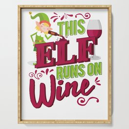 This Elf Runs On Wine Christmas Wine Lover Serving Tray