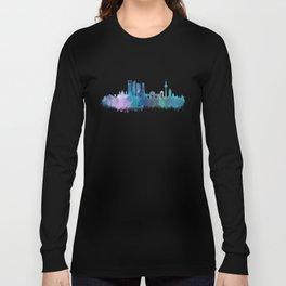 Madrid spain city splattered watercolor skyline v4bb Long Sleeve T-shirt