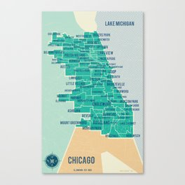 City of Chicago Map Canvas Print