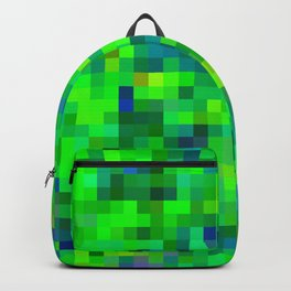 geometric square pixel pattern abstract in green and blue Backpack