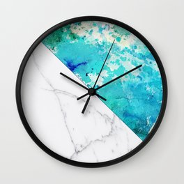 Teal watercolor paint splatters white marble Wall Clock