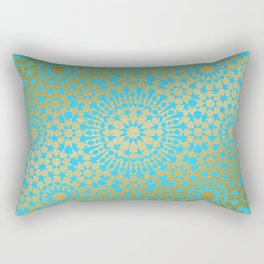 Moroccan Nights - Gold Teal Mandala Pattern 1 - Mix & Match with Simplicity of Life Rectangular Pillow