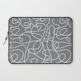 Doodle Line Art | White Lines on Gray Laptop Sleeve