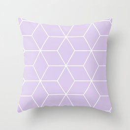 White and lavender geometric pattern Throw Pillow