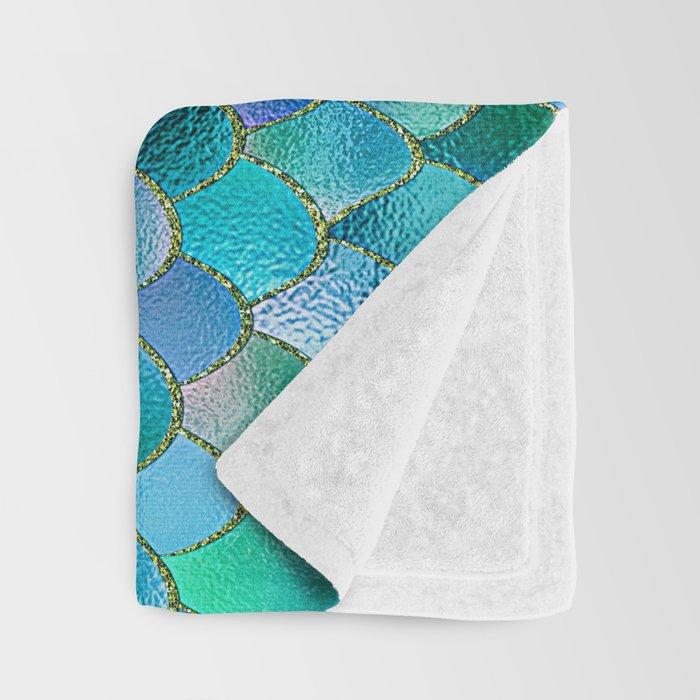 Summer Ocean Metal Mermaid Scales Throw Blanket