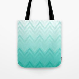 Fading Teal Chevron Tote Bag
