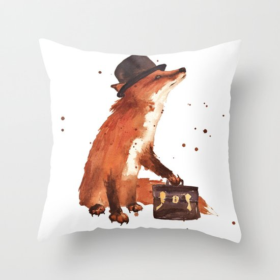 Fox in hat, office decor, gift for the boss, fox, fox painting, British fox Throw Pillow