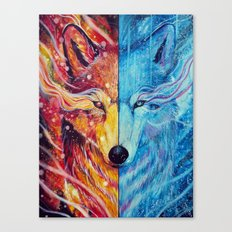 Fire and ice wolf Canvas Print