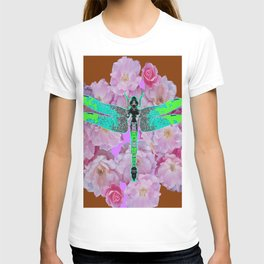 EMERALD DRAGONFLY PINK ROSES COFFEE BROWN T-shirt