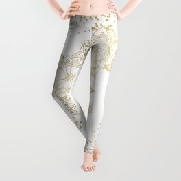 Hand drawn white and gold mandala confetti motif Leggings