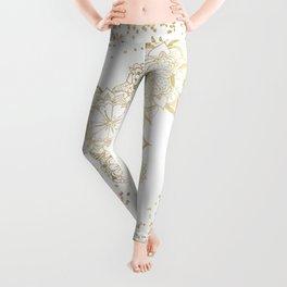 Hand drawn white and gold mandala confetti motif Leggings