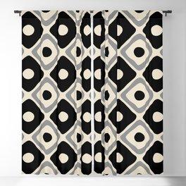 Mid Century Modern Diamond Dot Pattern 414 Black and Gray Blackout Curtain