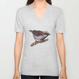 Sparrow by Lars Furtwaengler | Colored Pencil / Pastel Pencil | 2013 Unisex V-Neck