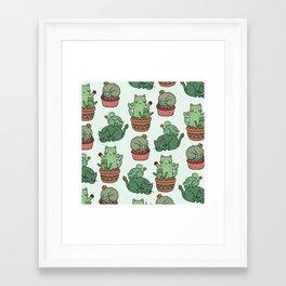 Cacti Cat pattern Framed Art Print